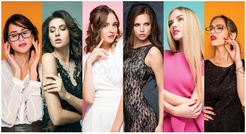 Fashion collage of images of beautiful young women. Sensual girls. Fashion collage. Group of beautiful young women. Sensual girls stock images