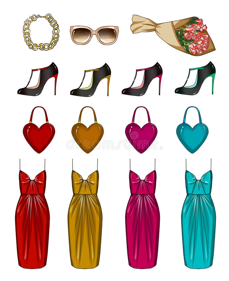 Fashion Collection of Clip Art - stylish woman wardorbe Fashionable and Trendy clothes and accessories. Fashion Collection of Clip Art - Fashionable and Trendy vector illustration