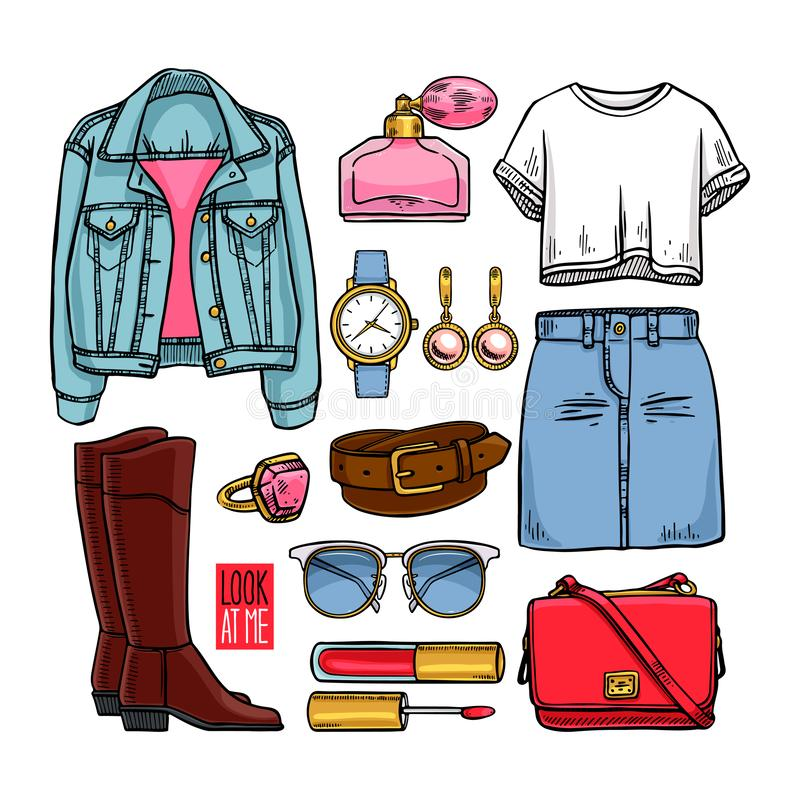 Fashion collection of girl clothing. And accessories. casual woman style. hand-drawn illustration vector illustration