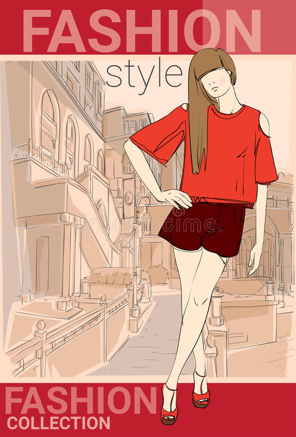 Fashion Collection Style Model Girl Wear Elegant Clothes In Street Sketch. Vector Illustration royalty free illustration