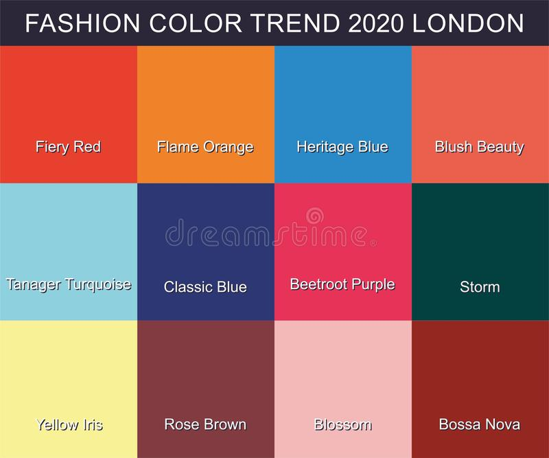 FASHION COLOR TREND Spring Summer 2020. New trendy colors palette guide 2020 for your designs mobile application, web designs and. Graphic designs. Bright vector illustration