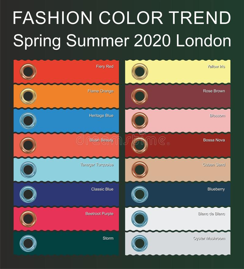 FASHION COLOR TREND Spring Summer 2020. New trendy colors palette guide 2020 for your designs mobile application, web designs and. Graphic designs. Bright royalty free illustration