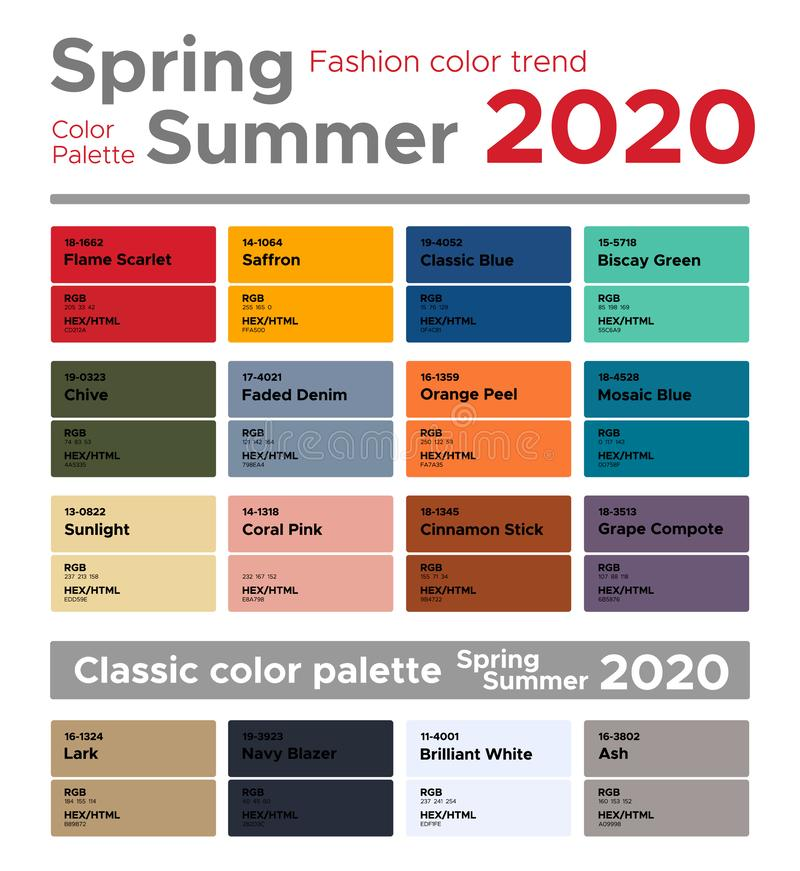Spring Summer 2020 Color Trends.Spring Summer 2020 Fashion Color Trends Color Palette Stock