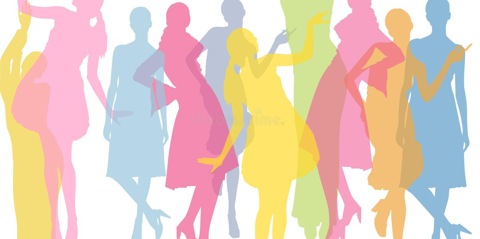 Fashion colorful background. Transparent colored silhouettes of girls. stock illustration