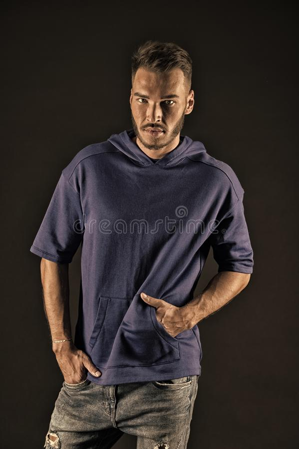 Fashion concept. Casual fashion style. Young man with fashion look. Fashion is freedom, vintage filter royalty free stock image