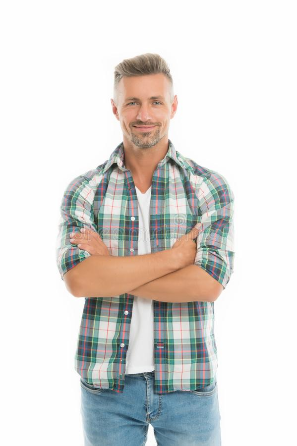 Fashion concept. Handsome fashion model. Feeling casual and comfortable. Menswear and fashionable clothing. Man looks. Handsome in casual style. Guy wear casual stock image