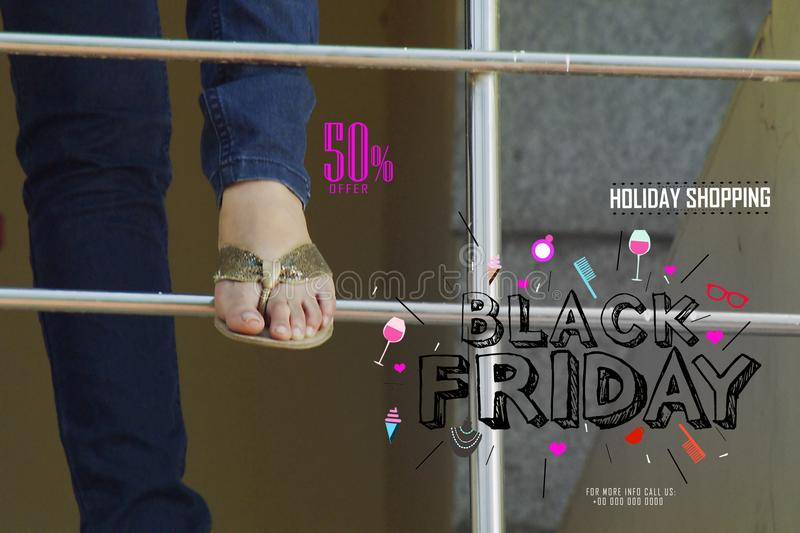 Fashion concept Modern shopper with Black Friday design template. Black Friday banner. illustration royalty free stock image