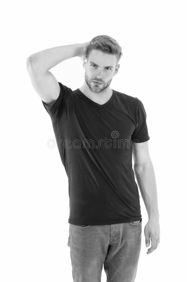 Fashion concept. unshaven muscular man. handsome macho. male fashion and beauty. barbershop. guy in black shirt. casual stock images