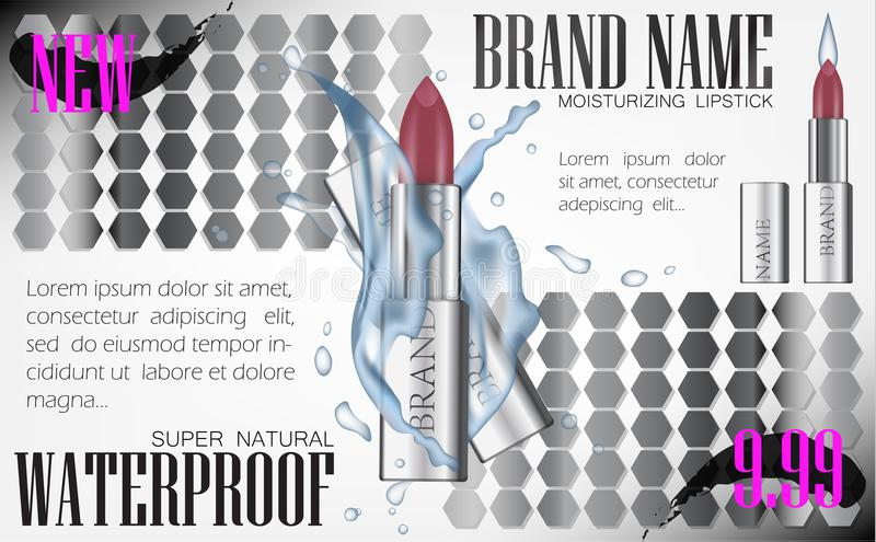 Fashion cosmetic lipstick tube vector 3d illustration mockup water splash. Design Ads Cosmetics Luxury Product Flyer Template for. Magazine Background. Silver royalty free illustration