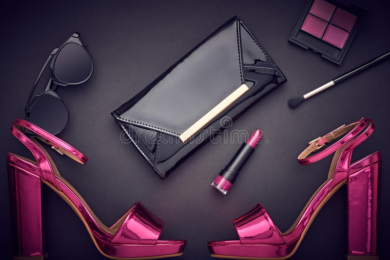 Fashion Cosmetic Makeup. Design Woman Accessories royalty free stock photos