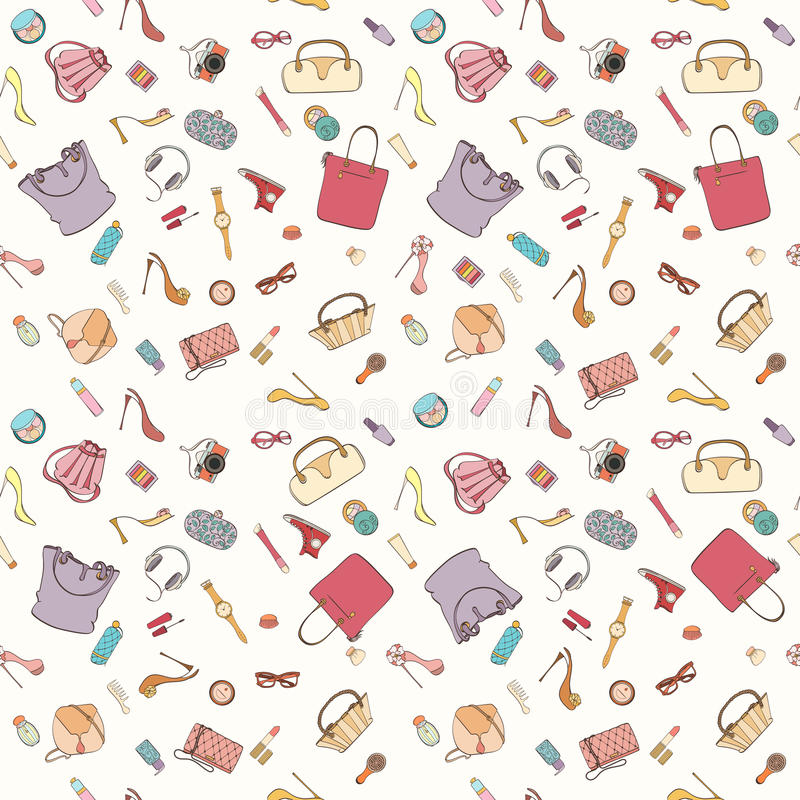 Fashion cosmetic pattern. Seamless women bag stuff pattern can be used for wallpaper, website background, wrapping paper. Women cosmetic bright pattern. Bag royalty free illustration