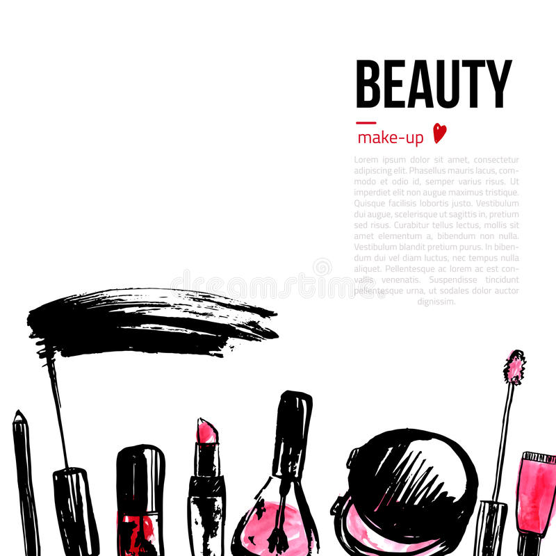 Fashion Cosmetics background with make up objects. With place for your text. Glamour women style royalty free illustration