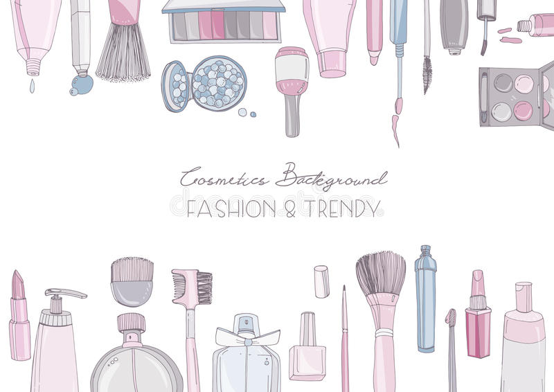 Fashion cosmetics horizontal background with make up artist objects. Vector hand drawn colorful illustration with place royalty free illustration