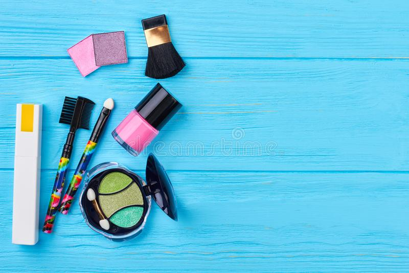 Fashion cosmetics items, copy space. stock images