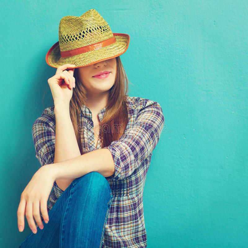Fashion country girl portrit. Blue stock images