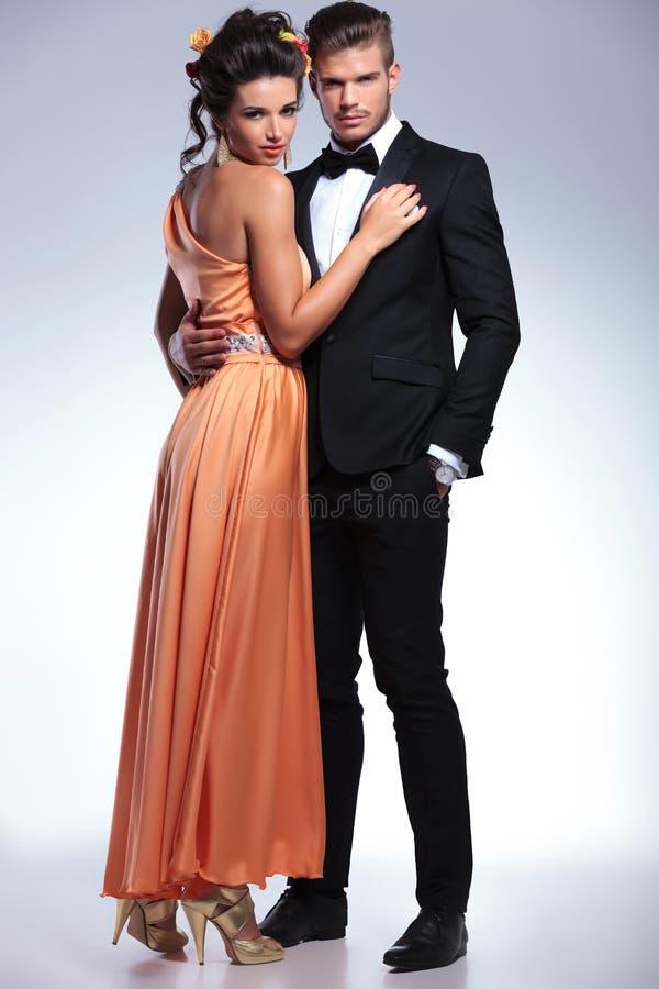 Fashion couple embracing royalty free stock image