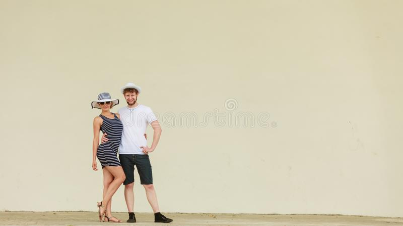 Fashion couple posing outdoor on stage stock photo
