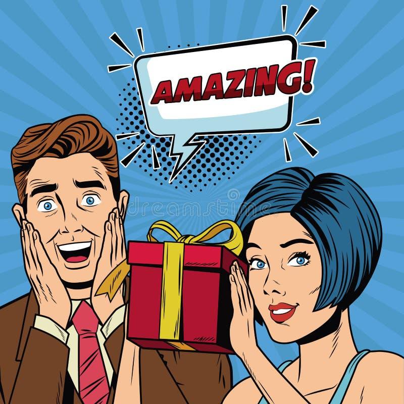 Fashion couple with speak bubble pop art cartoon. Colorful vector illustration graphic design stock illustration