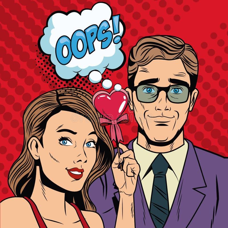 Fashion couple with speak bubble pop art cartoon. Colorful vector illustration graphic design vector illustration