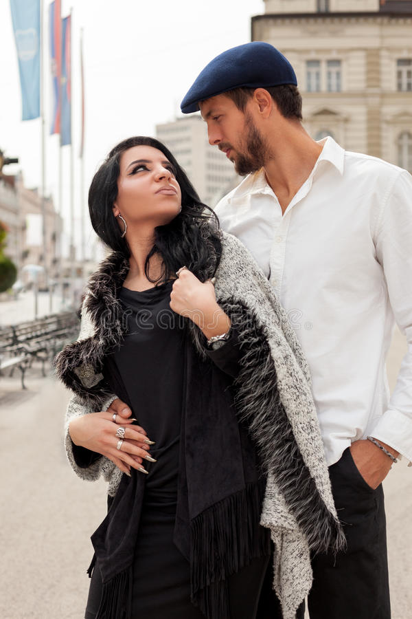 Fashion couple together in the city stock photo