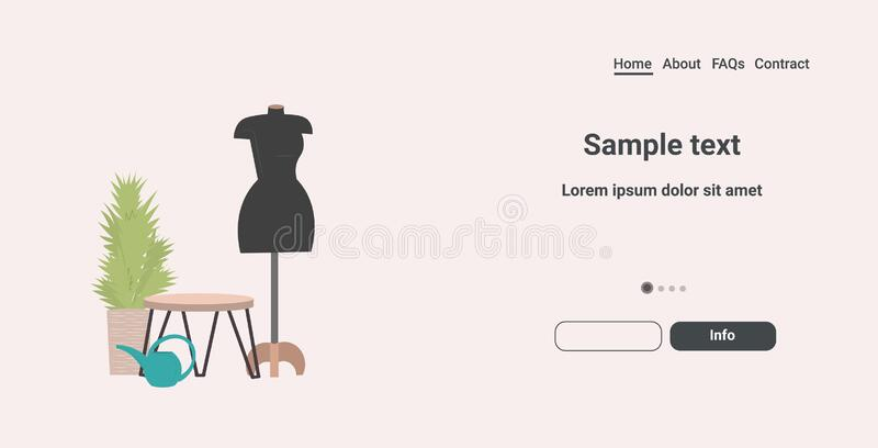 Fashion creative design studio with mannequin dressmaking workplace tailor shop sewing workshop concept horizontal copy royalty free illustration