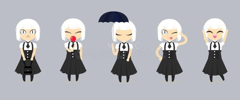 Fashion cute girl cartoon character design. Set of white hair women wear black dress and white shirt. vector illustration