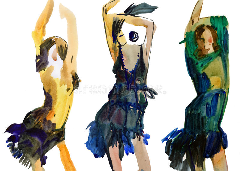 Fashion dancing girls royalty free illustration