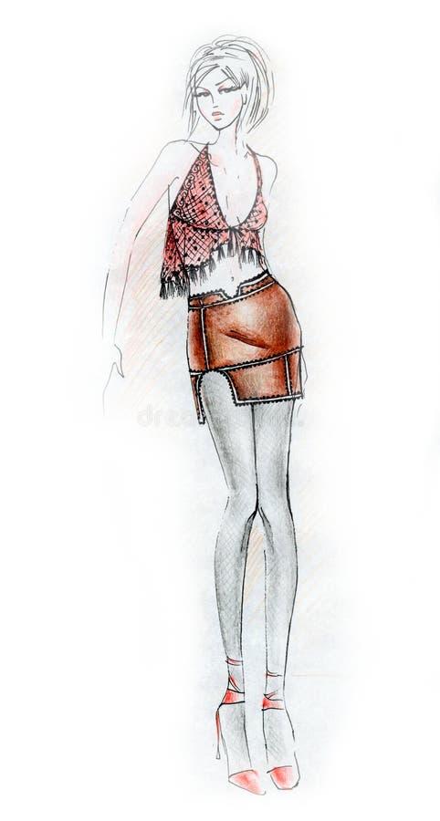 fashion den varma illustrationkvinnan royaltyfri illustrationer