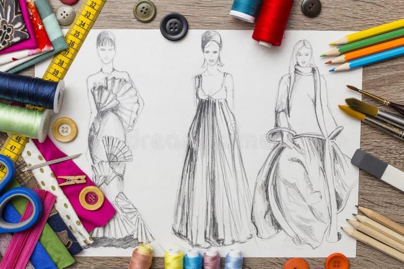 Fashion design sketch. Shoot of fashion design sketch stock illustration