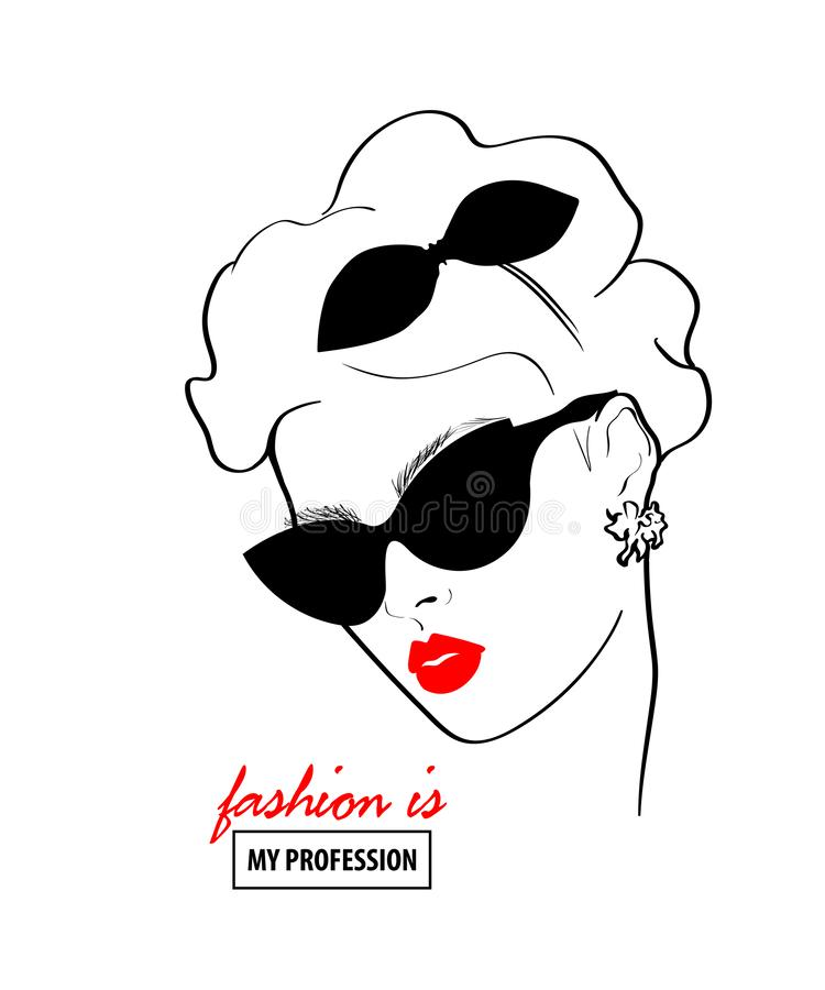 Fashion design sketch woman in style pop art. Glamour woman in black sunglasses red lips. Red mouth speed girl fashion sketch royalty free illustration