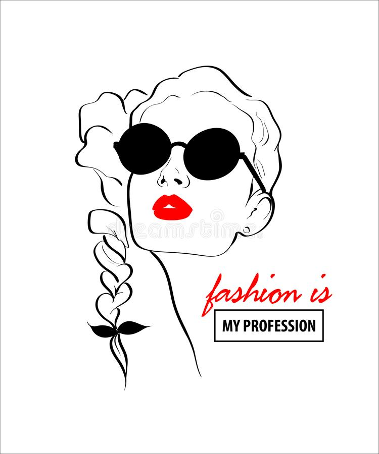 Fashion design sketch woman in style pop art. Glamour woman in black sunglasses red lips. Red mouth speed girl fashion sketch vector illustration