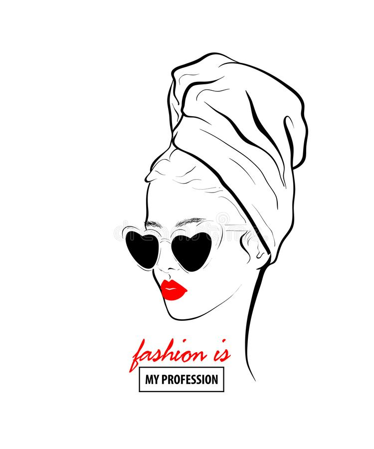 Glamour woman in black sunglasses red lips. Fashion design sketch woman towel on head in style pop art. Glamour woman in black sunglasses red lips. Red mouth vector illustration