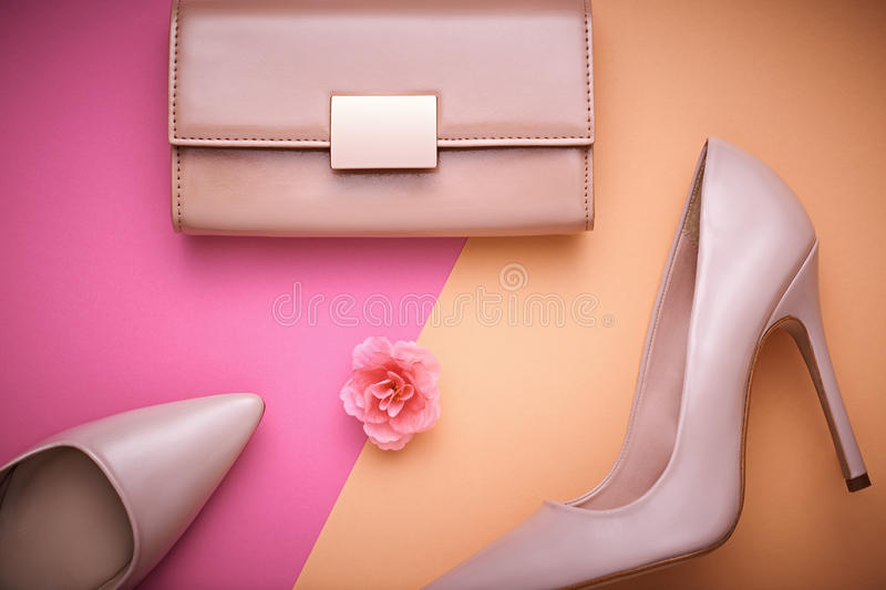 Fashion Design Woman Accessories Set. Minimal. Art. Fashion Design Woman Accessories Set. Pastel Colors.Cosmetic Makeup.Trendy fashion Handbag Clutch clothes royalty free stock images
