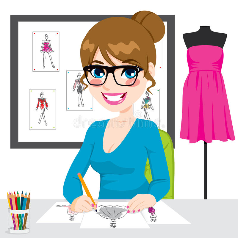 Download Fashion Designer Drawing Sketches Stock Vector - Image: 40983294