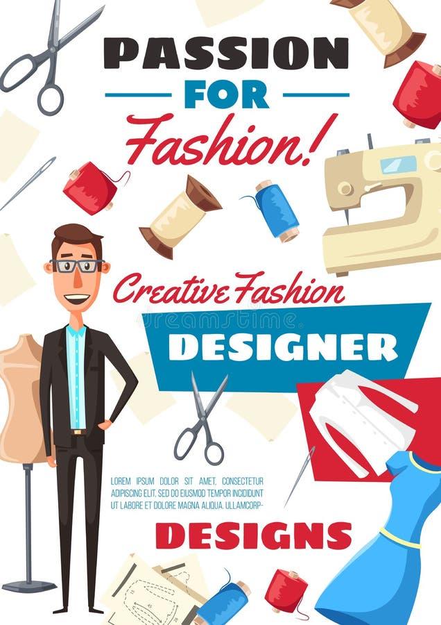 Fashion designer, dressmaker tailor profession vector illustration