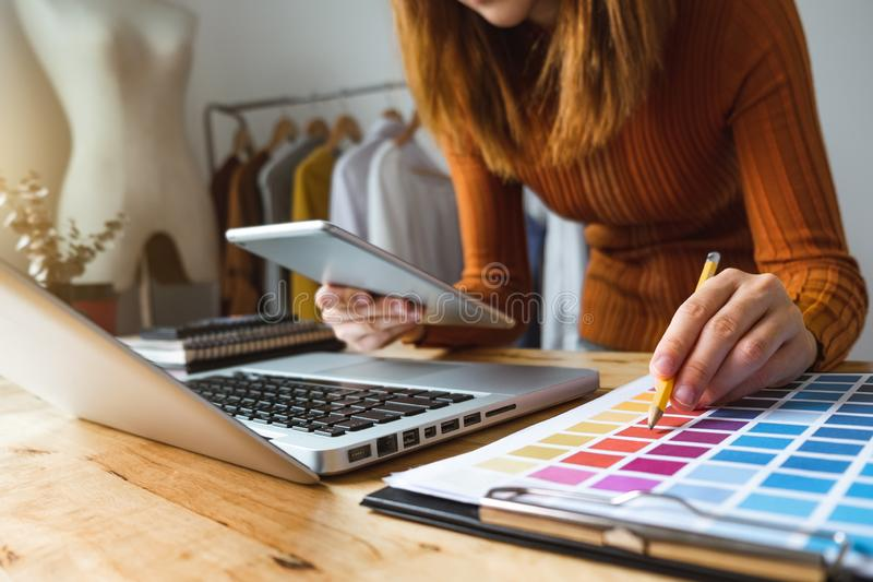 Fashion designer Online Shopping payments concept. royalty free stock image