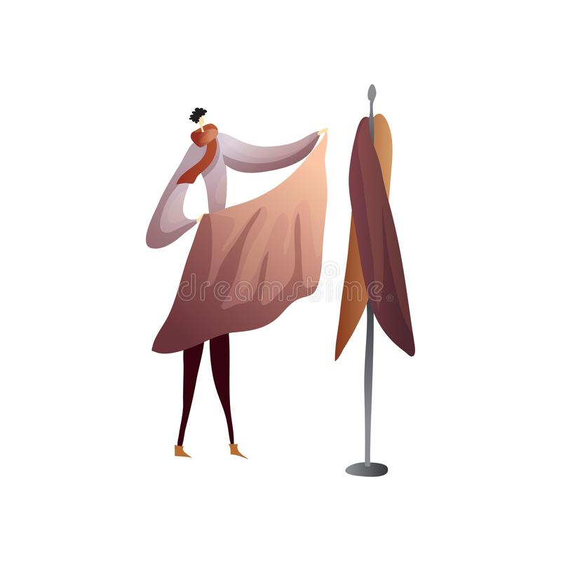 Fashion designer puts the cloth to the dummy. Vector illustration on white background. stock illustration