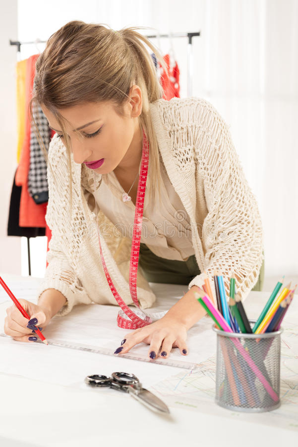 Fashion Designer With Sewing Pattern Stock Image - Image of young ...