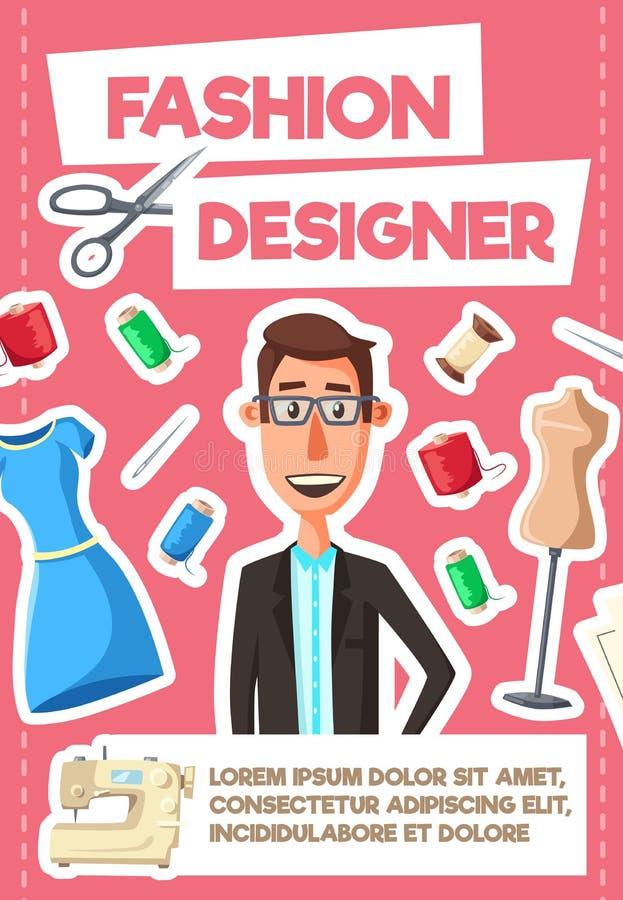 Fashion designer tailor or dressmaker profession stock illustration