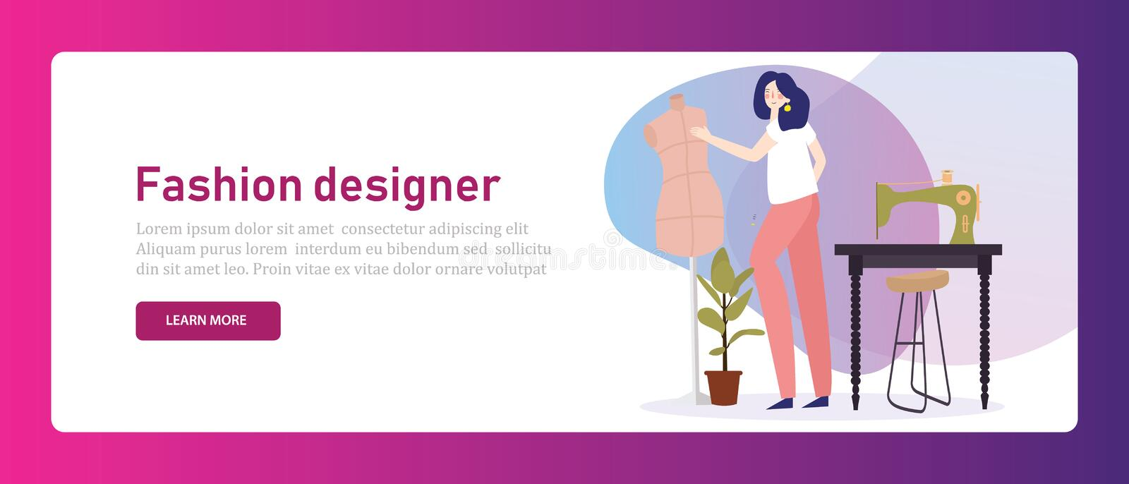 Fashion designer tailor. Girl working with sewing machine garment clothing dress maker in creative studio stylish vector illustration