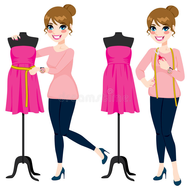 Fashion Designer Woman. Beautiful young fashion designer woman measuring a dress on mannequin royalty free illustration