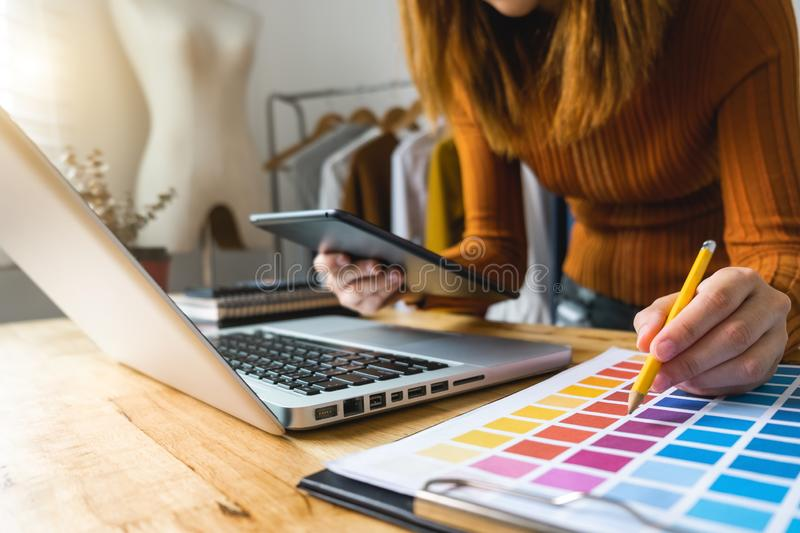 Fashion designer Online Shopping payments concept. royalty free stock images