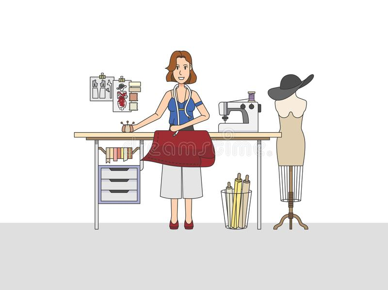 A fashion designer working in shop. A fashion designer working in a shop vector illustration