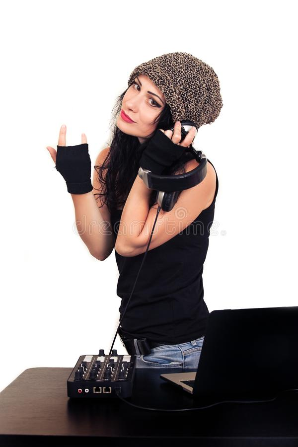DJ woman hat headphones listening music white young girl hat cap hipster black brunette gloves top royalty free stock images