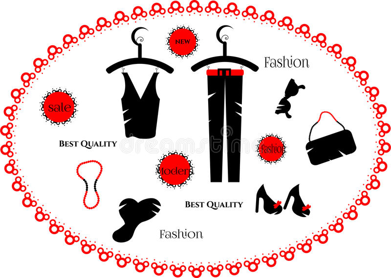 Fashion dress, set of beads, hat, ladies shoes, royalty free illustration