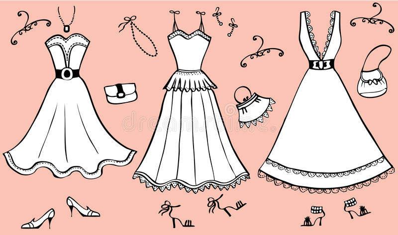 Fashion dresses and accessories stock photos
