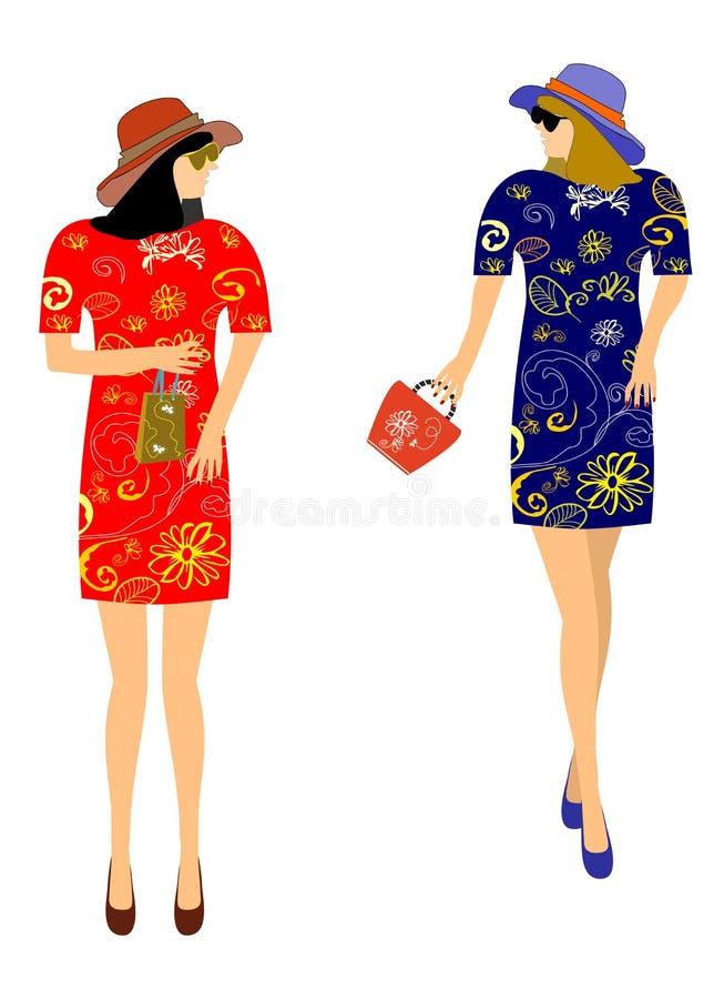 Fashion dresses for girls royalty free illustration