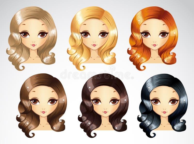 Fashion Evening Curls Hairstyling Set royalty free illustration