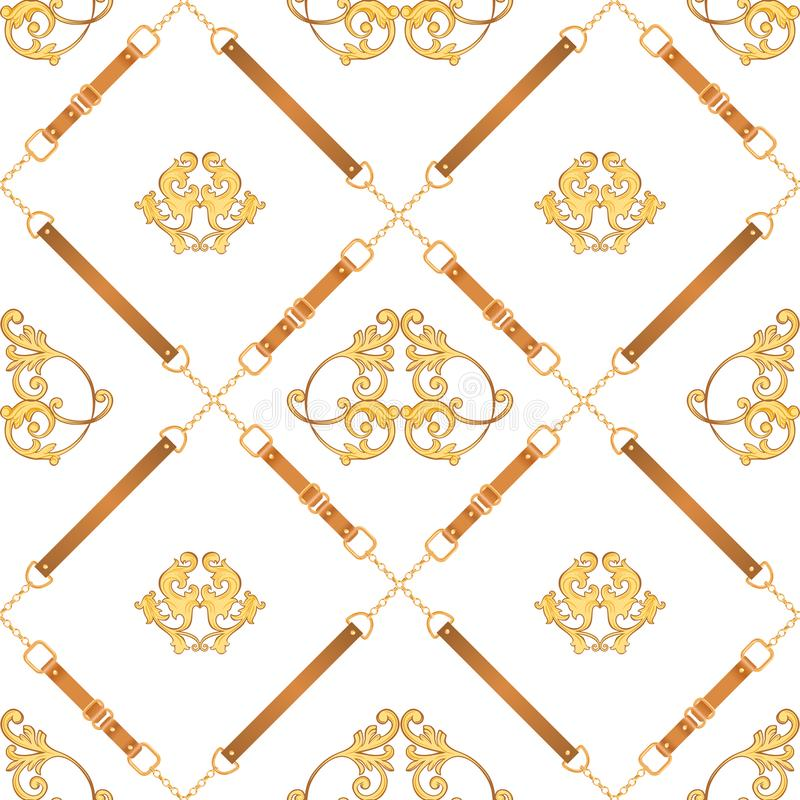 Free Fashion Fabric Seamless Pattern With Golden Chains, Belts And Straps. Luxury Baroque Background Fashion Design Jewelry Elements Stock Photography - 140893192