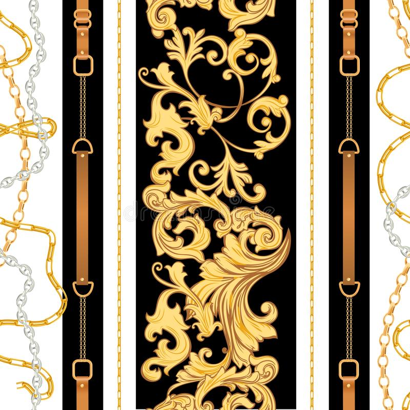 Free Fashion Fabric Seamless Pattern With Golden Chains, Belts And Straps. Luxury Baroque Background Fashion Design Jewelry Elements Stock Image - 140893201